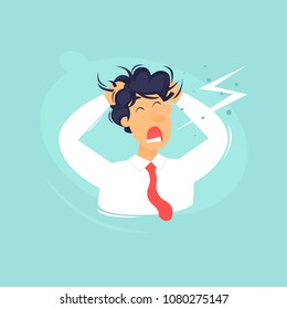 Headache, frustration, anger. Flat design vector illustration.