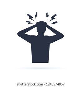 Headache glyph icon. Silhouette symbol. Anger and irritation. Frustration. Nervous tension. Aggression. Occupational stress. Emotional stress symptom. Negative space. Vector isolated illustration