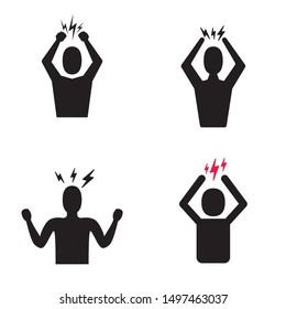 Headache icon set. Man Silhouette symbol isolated on white background. Anger managment and aggresion icons collection