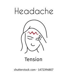 Headache linear icon. Vector abstract minimal illustration of girl with red zigzag on the head suffers from headache. Tension headache type. Design template for medicine or therapy for headache
