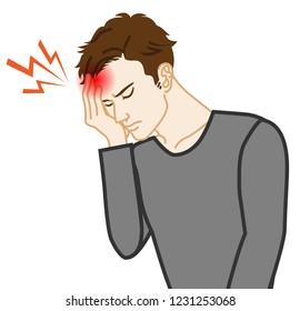 Headache - Physical disease image clip art - Adults men