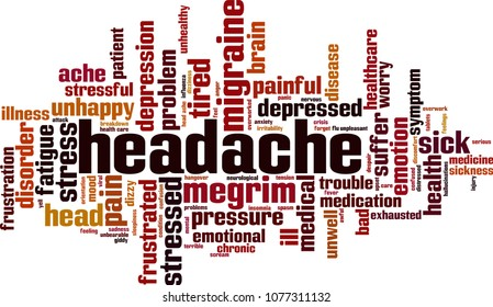 Headache word cloud concept. Vector illustration