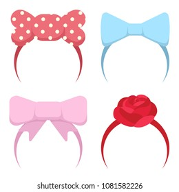 Headband with bow and rose flower for girls. Vector cartoon flat icons of a hair clip for a baby isolated on a white background.