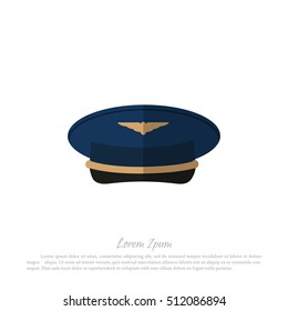 Headdress civil aircraft pilots. Drawing in a flat style on a white background. Vector illustration.