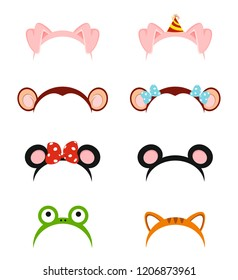 headdress in the form of animals. Baby headbands in the vector. Festive attributes