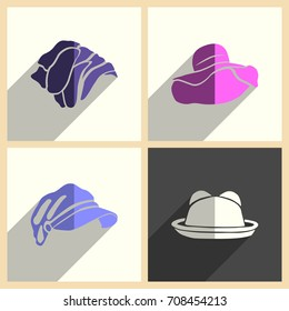 Headdresses for women set of flat icons with shadow. Simple vector illustration