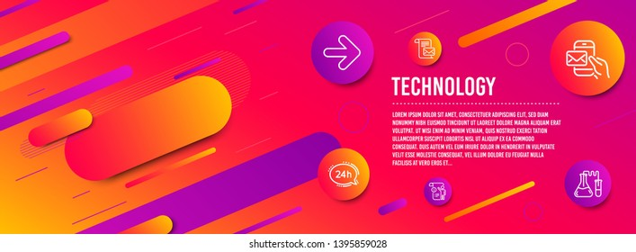 Header banner. 24h service, Next and Mail letter icons simple set. Manual doc, Messenger mail and Chemistry lab signs. Call support, Forward. Technology set. Line 24h service icon. Gradient elements