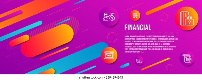 Header banner. Cashback card, Sallary and Blocked card icons simple set. Sale, Discounts signs. Money payment, Person earnings. Finance set. Line cashback card icon. Gradient elements. Vector