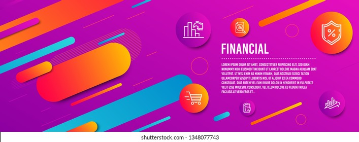 Header banner. Decreasing graph, Checklist and Delivery shopping icons simple set. Analytics graph, Loan percent and Growth chart signs. Column chart, Survey. Finance set. Line decreasing graph icon