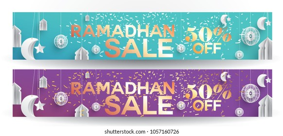 Header or Banner design based on Super Offer, Offer, Sale or Discount etc. on the occasion of Muslim's Holy Month Ramadan Kareem. eid
