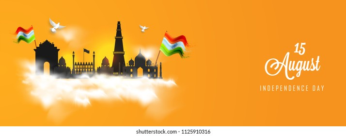 Header or banner design for Independence Day celebration with illustration of famous monuments of India such as India Gate, Taj Mahal, Red Fort on saffron color background with abstract pattern cloud.