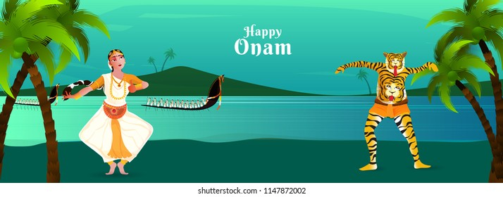 Header or banner design for Onam festival, Dancers Performing Traditional Dance of Kerala (Mohiniyattam, Pulikali) and Snake Boat Racing (Vallamkali) illustration on tropical sea landscape background.