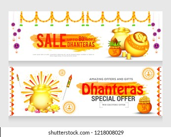 Header or banner with golden shiny pot filled with gold coins of indian dhanteras diwali festival celebration background. Shubh dhanteras.