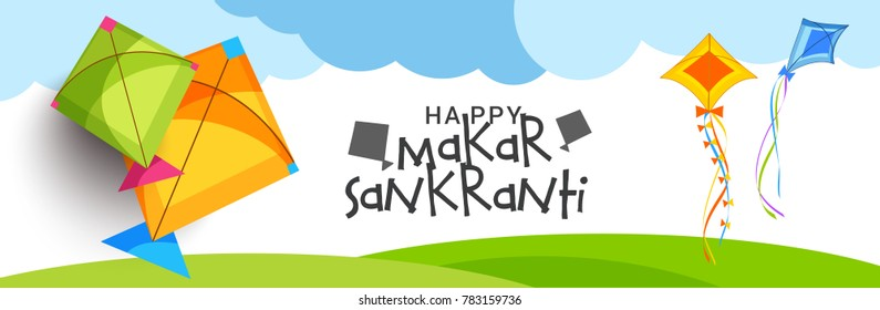 Header Or Banner Of Makar Sankranti with colorful kites.
