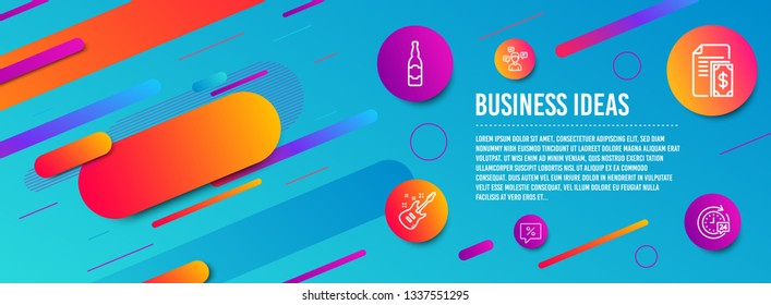 Header banner. Payment, Conversation messages and Electric guitar icons simple set. Beer bottle, Discount message and 24h delivery signs. Cash money, Communication. Business set. Line payment icon