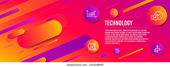 Header banner. Seo statistics, Chart and Report icons simple set. 24h service, Remove and Block diagram signs. Analytics chart, Work analysis. Technology set. Line seo statistics icon. Vector
