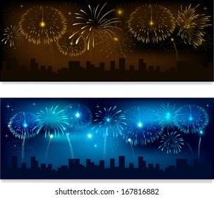 Header or banner set with fireworks