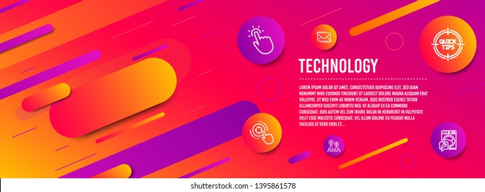 Header banner. Touchpoint, Seo target and Messenger mail icons simple set. Tips, Ab testing and Washing machine signs. Touch technology, Click aim. Technology set. Line touchpoint icon. Vector