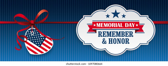 Header with heart and label for Memorial Day.  Eps 10 vector file.