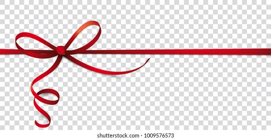 Header with red ribbon, bow on the checked background. Eps 10 vector file.