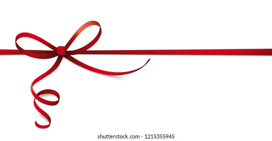 Header with red ribbon bow on the white background. Eps 10 vector file.