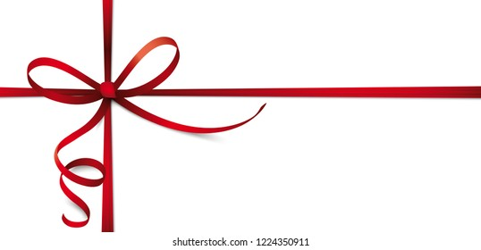 Header with red ribbon cross, bow on the white background. Eps 10 vector file.
