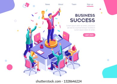 Header, screen increase, competition interface. Earn application, can use for web banner, infographics, hero images. Flat isometric vector illustration isolated on white background
