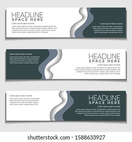 Header Web Banner Background Template. Gradient Soft Black gray Modern Corporate Wavy, Wave, Curve Design Vector Style. for Header, footer and Advertising.