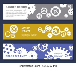Header web banners techno gears background with geometric cogwheels. Space for text. Clock mechanism. Vector gears and cogs modern mechanism industrial concept. Clock technology cogwheels backgrounds.
