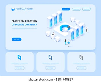 Header for Website. Cryptocurrency and blockchain. Platform creation of digital currency. Business, analytics and management. Vector illustration