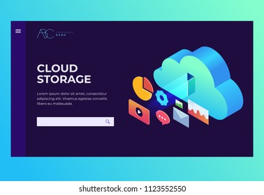 Header for website. Homepage. Cloud storage: web graph, chart, email, player. Infographics elements on computer devices. 3d isometric flat design. Vector illustration.