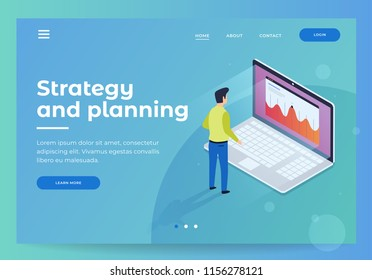 Header for website. Homepage. Strategy and planning. Financial review. Businessman standing in front of laptop and looks at growth statistics. 3d isometric flat design. Vector illustration.