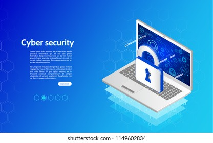 Header for website with laptop and protection padlock. 3D Cyber security technology mechanism concept. Abstract isometric personal data protection.