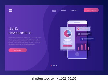 Header for website. Mobile UI/UX development design concept. Smartphone with interface elements. Digital industry. Innovation and technologies. Mobile app. Vector flat illustration.