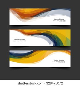 Headers and banners three set colorful business wave vector