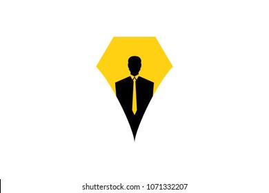 Headhunter logo with pen shape