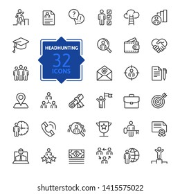 Headhunting And Recruiting minimal thin line web icon set. Included the icons as Job Interview, Career Path, Resume and more. Outline icons collection. Simple vector illustration.
