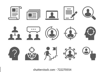Headhunting Related Vector Icons Set. Business people, Communication and Team work.