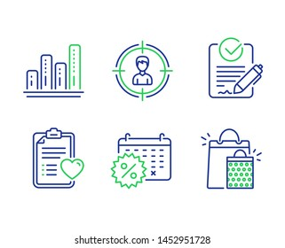 Headhunting, Rfp and Graph chart line icons set. Patient history, Calendar discounts and Shopping bags signs. Person in target, Request for proposal, Growth report. Medical survey. Vector