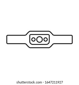 Headlamp vector icon.Outline,line vector icon isolated on white background headlamp.