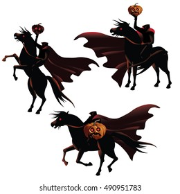 Headless Horseman collection. EPS 10 vector.