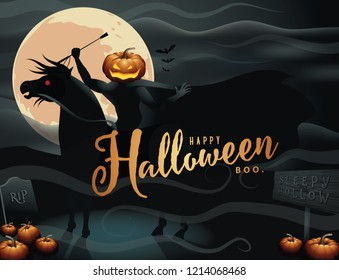 Headless Horseman. The Hessian Trooper stands in holding his riding crop. Happy Halloween. EPS 10 vector illustration.