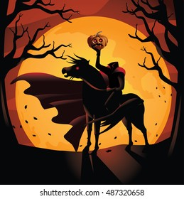 Headless Horseman. The horseman rides against the big orange full moon. EPS 10 vector.