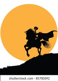 Headless Horseman The horseman rides against the big orange full moon. With space for your message. EPS 8 vector grouped for easy editing.
