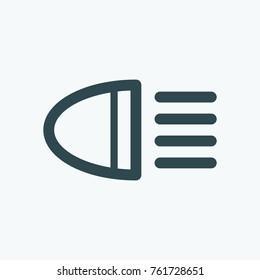 Headlight icon, car light vector icon