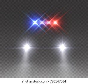 Headlights flares and siren effect front view. Realistic white glow car headlights isolated on transparent background. Vector bright special red blue police light beams at night for your design.