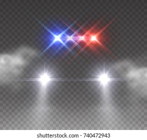 Headlights flares and siren effect front view. Realistic white glow headlights isolated on fog transparent background. Vector special red blue police car light beams at night with smoke.