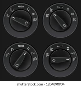Headlights selectors. Car dashboard black elements. Vector 3d illustration
