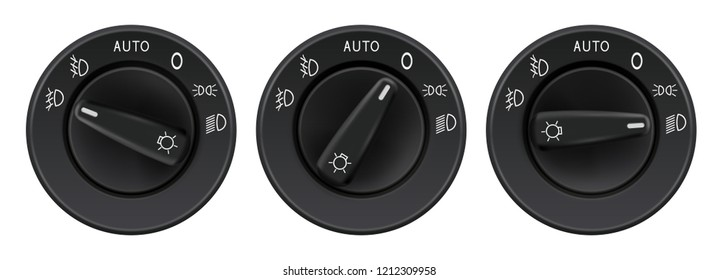 Headlights selectors. Car elements. Vector 3d illustration isolated on white background