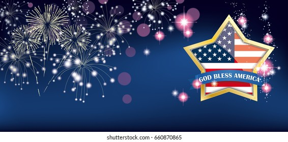 Headline with golden star, us-flag and text God Bless America. Eps 10 vector file.